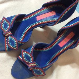 Betsey Johnson Shoes - Betsy Johnson Primary Color Peep Toe Bow Heels
